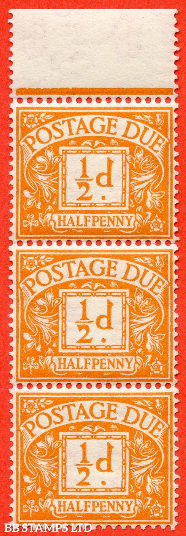 """SG. D35. R35 (1) a. ½d Orange. A super UNMOUNTED MINT top marginal vertical strip of 3 with the listed """" Broken ' 2 ' in ' ½ '. Row 3 /14 """" variety. A fine positional piece."""