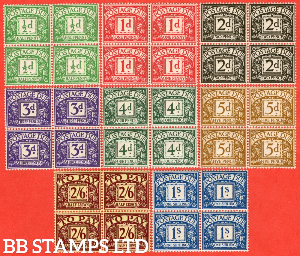 SG. D27 - D34. R27 - R34. ½d emerald - 2/6 purple / yellow.  A super UNMOUNTED MINT complete set in blocks of 4. A scarce set to put together these days.