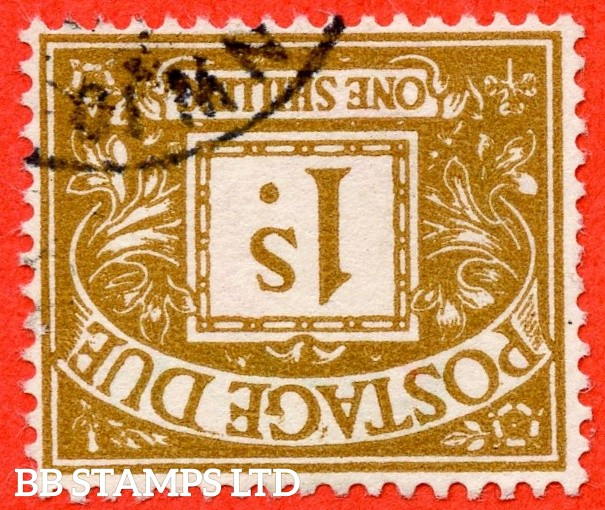 SG. D64 wi. Z37a. 1/- ochre. INVERTED WATERMARK. A fine used example of this scarce QEII watermark variety.