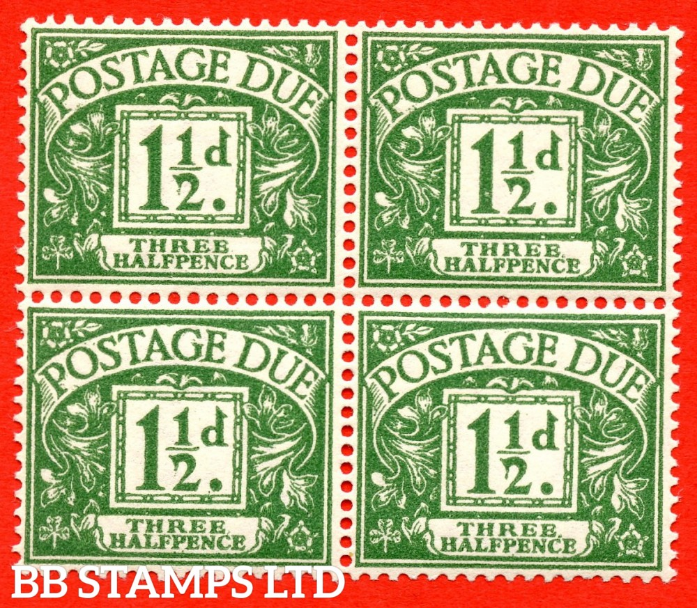 """SG. D48. Z9 b. 1½d green. A superb UNMOUNTED MINT block of 4 with the listed """" Stop after ' THREE ' """" variety. Also with the known but unlisted """" Drooping ' 2 ' """" flaw variety."""
