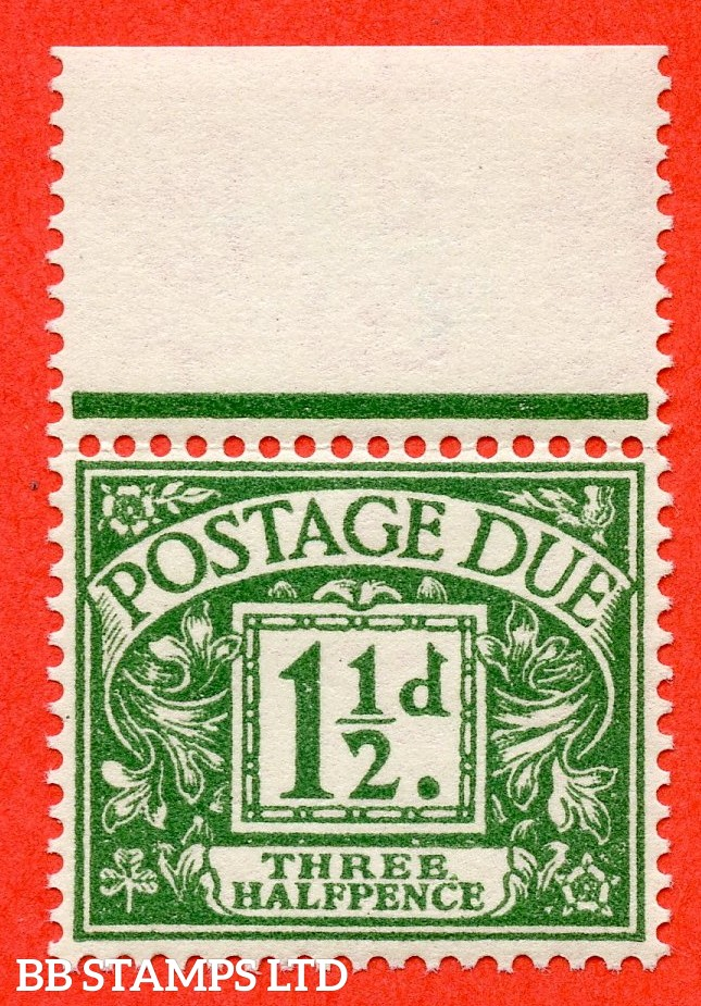 """SG. D48. Z9 b. 1½d green. A super UNMONTED MINT top marginal example with the listed """" Stop after ' THREE ' """" variety."""