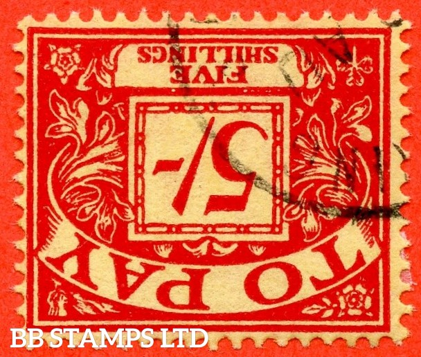 SG. D55 wi. Z16 a. 5/- scarlet / yellow. INVERTED WATERMARK. A superb CDS used example of this scarce QEII watermark variety.