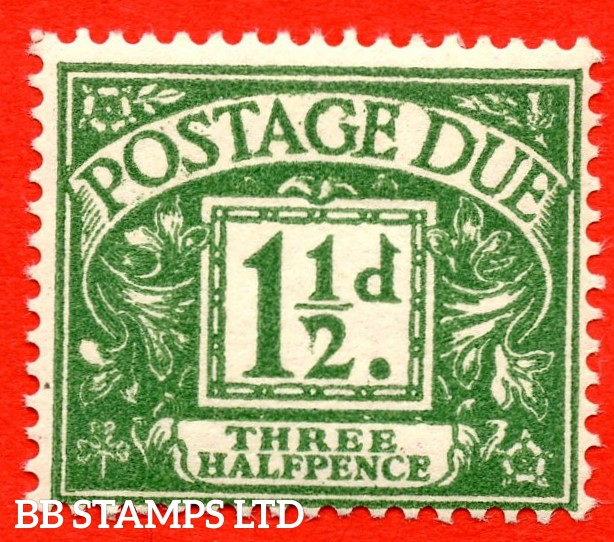 """SG. D48. Z9. 1½d green. A superb UNMOUNTED MINT example with the known but unlisted """" Drooping ' 2 ' """" flaw variety."""