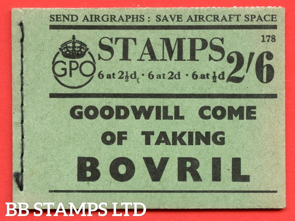 SG. BD17. 2/6. Edition number 178. A very fine example of this scarce George VI booklet.