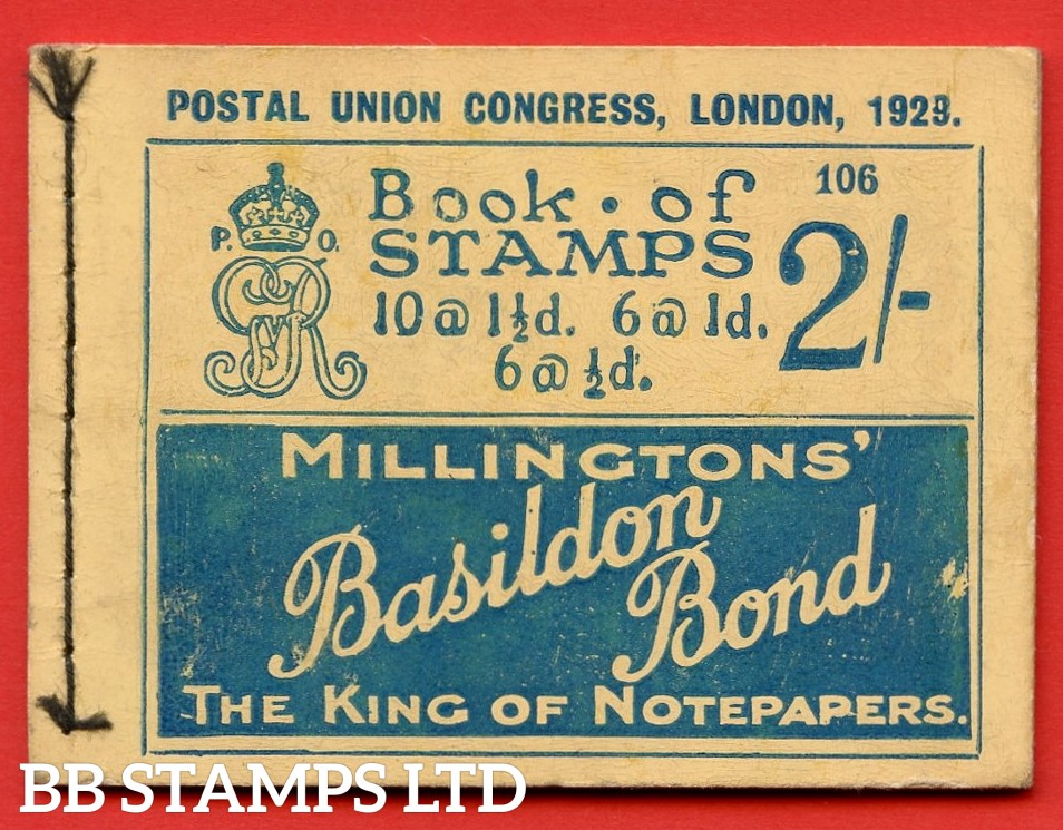 "SG. BB13. 2/-. Edition Number 106. George V. 1929 Postal Union Congress. A very fine complete booklet with advert pane  "" Telephone Service / Air Mails, Letters & Parcels "" number NComB4 (5)."