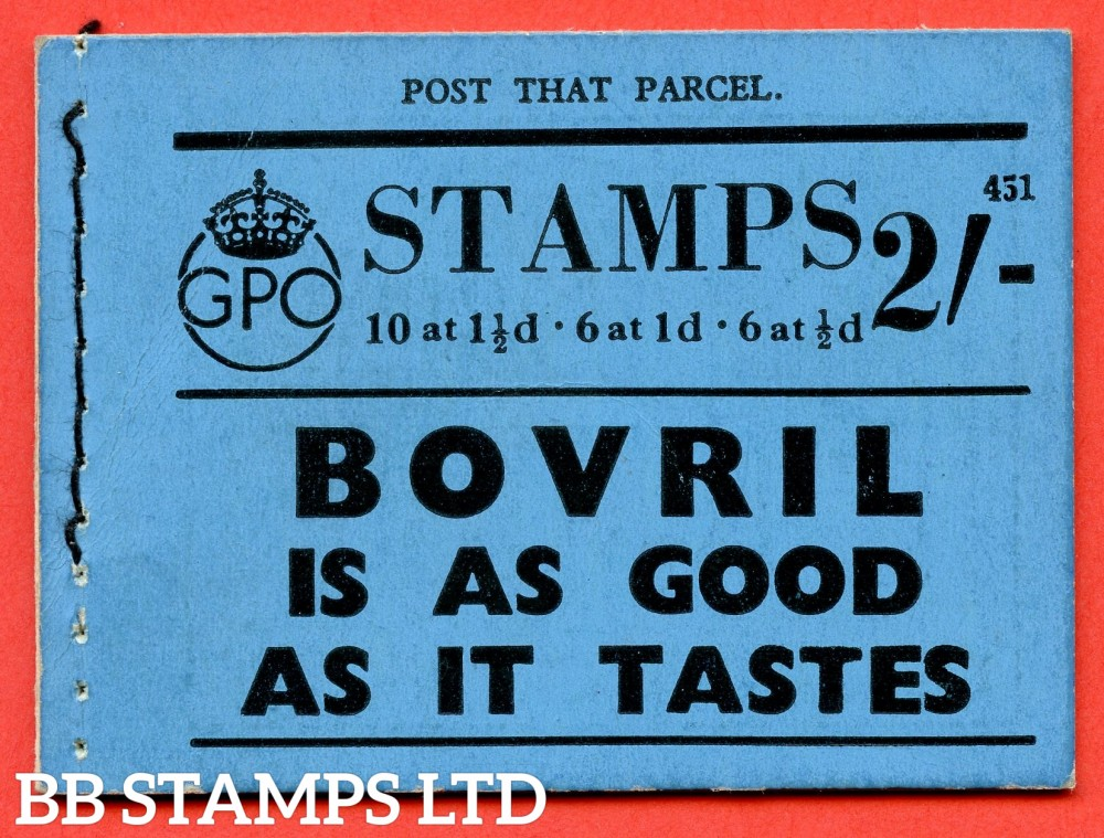 """SG. BD12. """" 2s """". Edition number 451. A very fine complete example of this very scarce George VI dark colours booklet."""