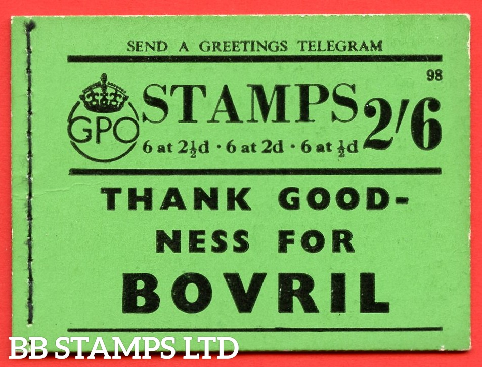 """SG. BD16. """" 2/6 """". Edition number 98. A very fine complete example of this very scarce George VI booklet."""