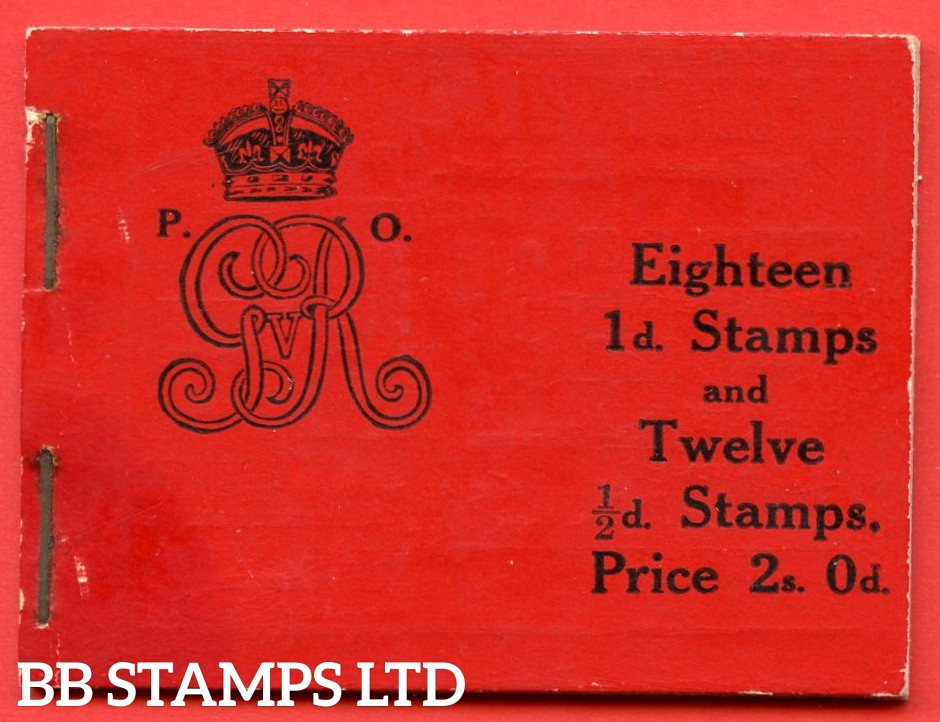 """SG. BB1. """" 2s """". Edition number 8. A very fine complete example of this very scarce George V Downey Head booklet. Hinge marks on reverse."""