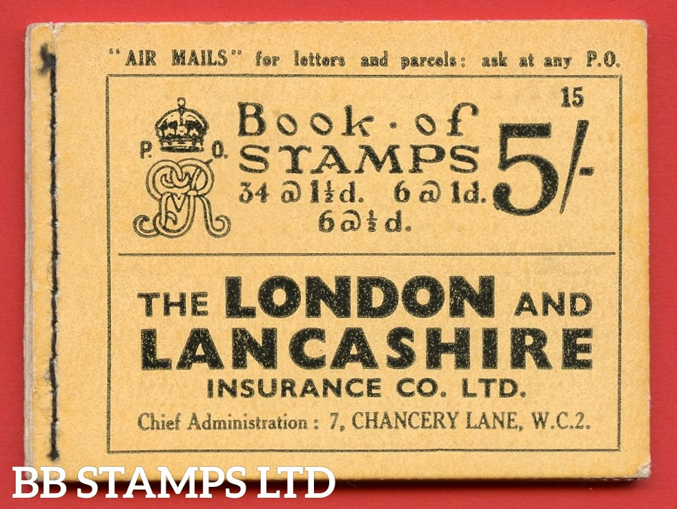 """SG. BB37. """" 5s """". Edition number 15. A very fine complete example of this very scarce George V photogravure booklet."""