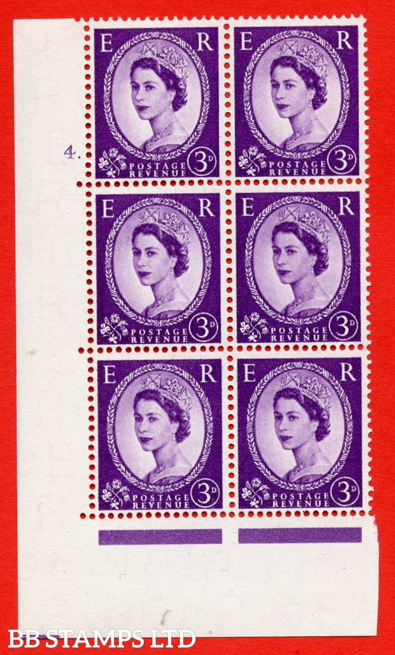 "SG. 545. S68. 3d. Deep - Lilac. A superb UNMOUNTED MINT "" cylinder 4 dot "" control block of 6 with perf type A E/I."