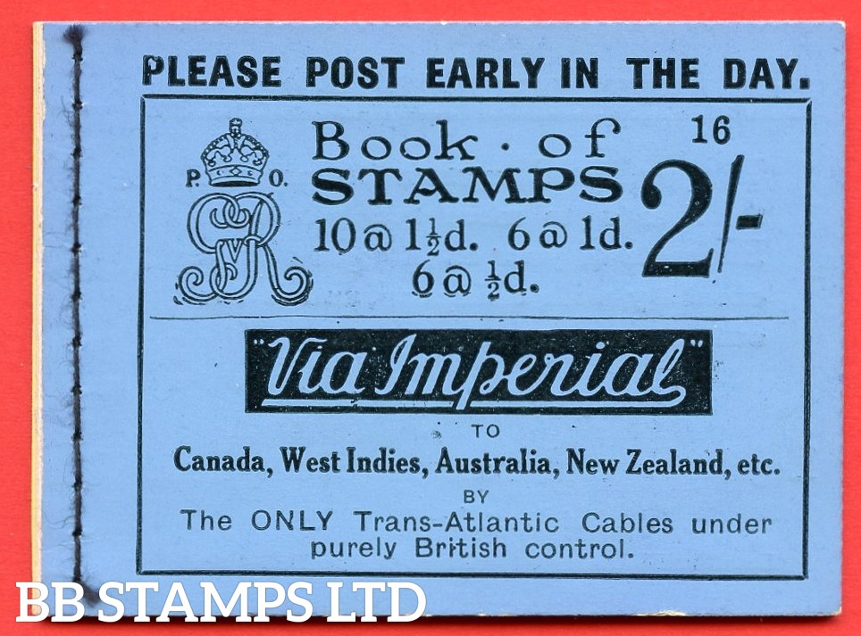 """SG. BB12. """" 2s """". Edition number 16. A very fine complete example of this very scarce George V booklet."""