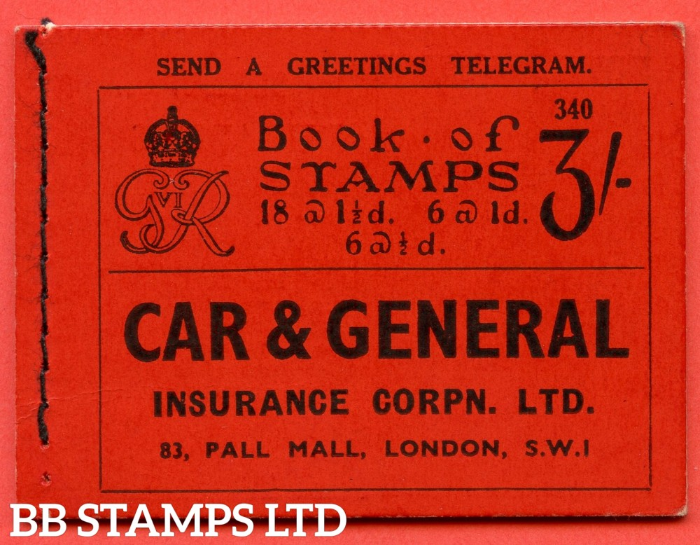 """SG. BD21. """" 3/- """". Edition Number 340. A very fine example of this Scarce George VI dark colours booklet."""