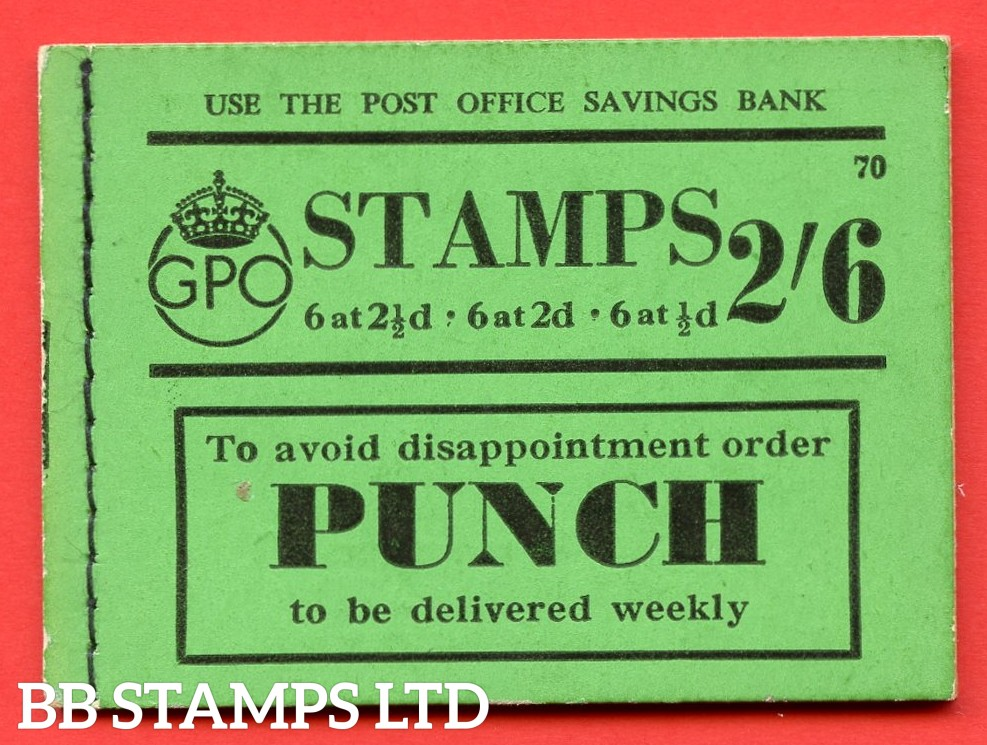 """SG. BD15. """" 2s 6d """". Edition number 70. A very fine complete example of this very scarce George VI booklet."""