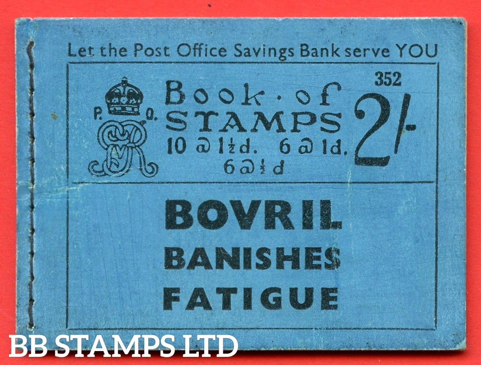 "SG. BB17. "" 2/- "". Edition number 352. A very fine complete example of this very scarce George V booklet."