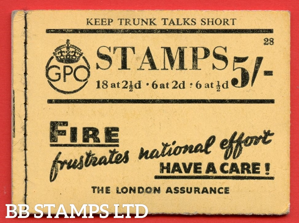 """SG. BD26. """" 5/- """". Edition number 28. A very fine complete example of this very scarce George VI booklet."""