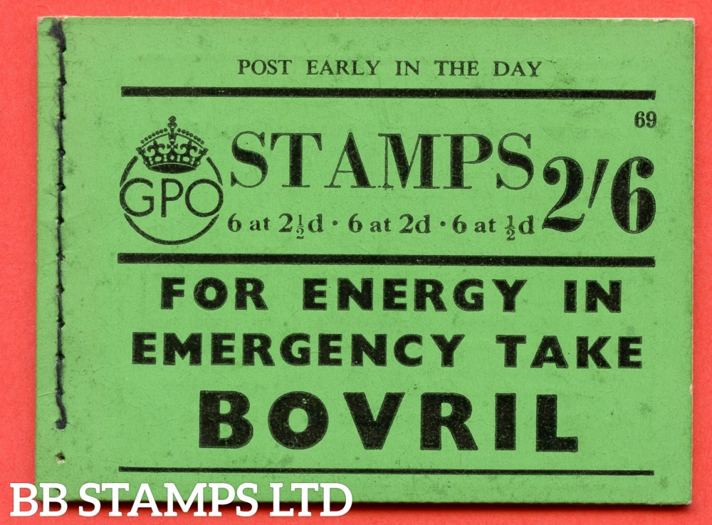 """SG. BD15. """" 2s 6d """". Edition number 69. A very fine complete example of this very scarce George VI booklet."""