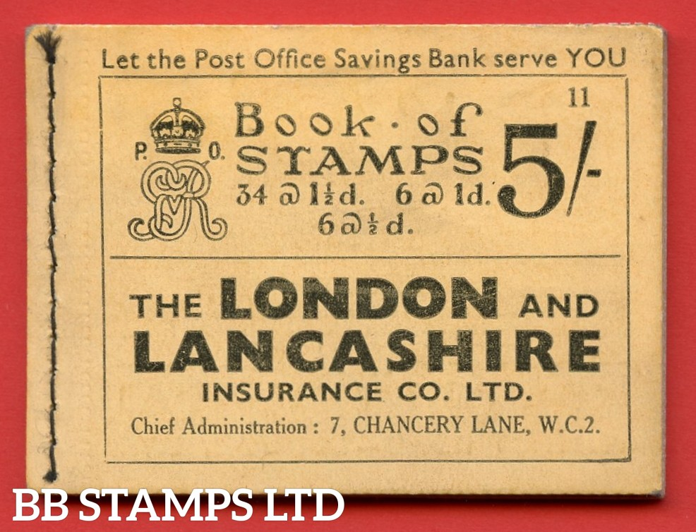 """SG. BB37. """" 5s """". Edition number 11. A very fine complete example of this very scarce George V photogravure booklet."""