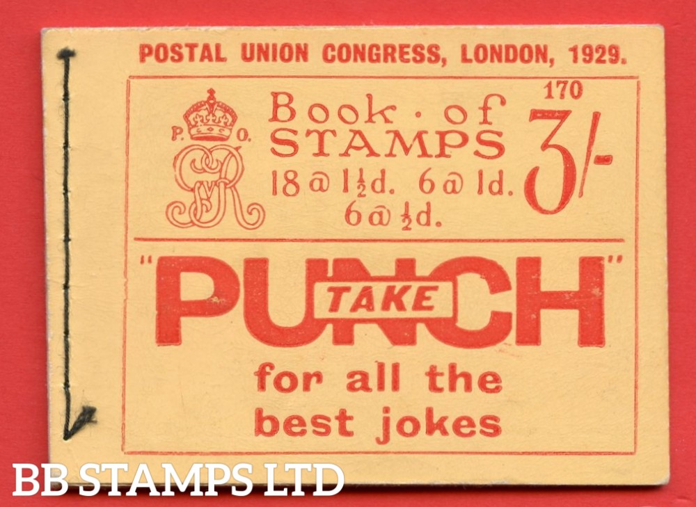 SG. BB25. 3/-. Edition Number 170. A very fine example of this scarce George V 1929 PUC booklet. Small fault on back of booklet.