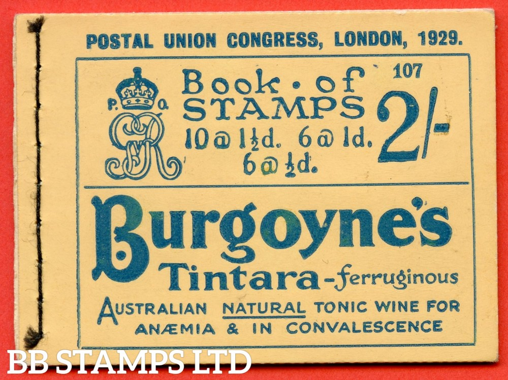 """SG. BB13. 2/-. Edition Number 107. George V. 1929 Postal Union Congress. A very fine complete booklet with advert pane  """" Telephone Service / Air Mails, Letters & Parcels """" number NComB4 (5)."""