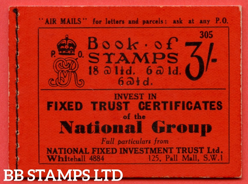 """SG. BB29. """" 3/- """". Edition Number 305. A very fine example of this scarce George V Photogravure booklet."""