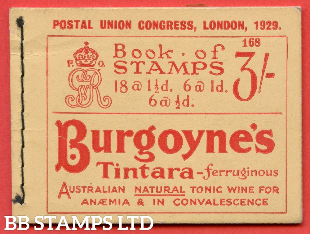 SG. BB25. 3/-. Edition Number 168. A very fine example of this scarce George V booklet.