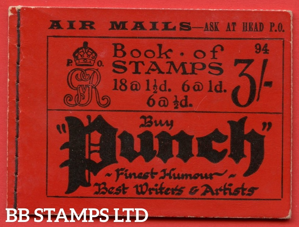 """SG. BB24. """" 3/- """". Edition number 94. A very fine complete example of this very scarce George V booklet."""