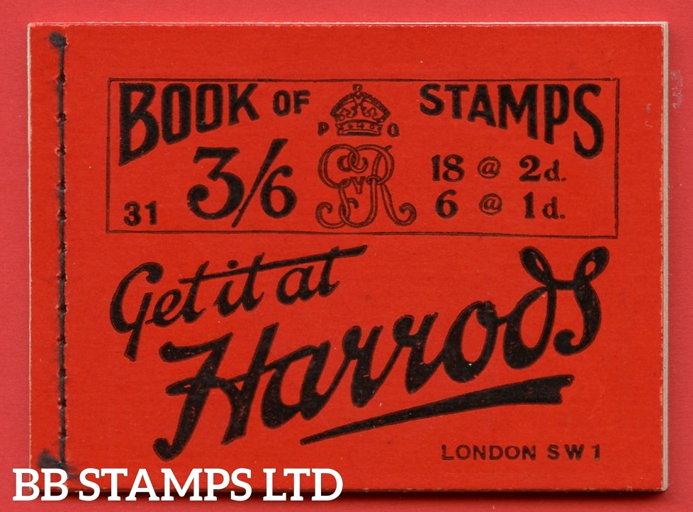 """SG. BB30. """" 3/6 """". Edition Number 31. A very fine example of this VERY RARE George V ROYAL CYPHER booklet."""