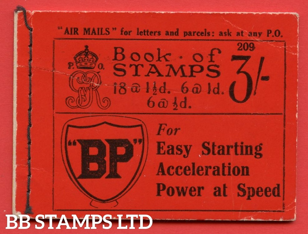"""SG. BB24. """" 3/- """". Edition number 209. A very fine complete example of this very scarce George V booklet."""