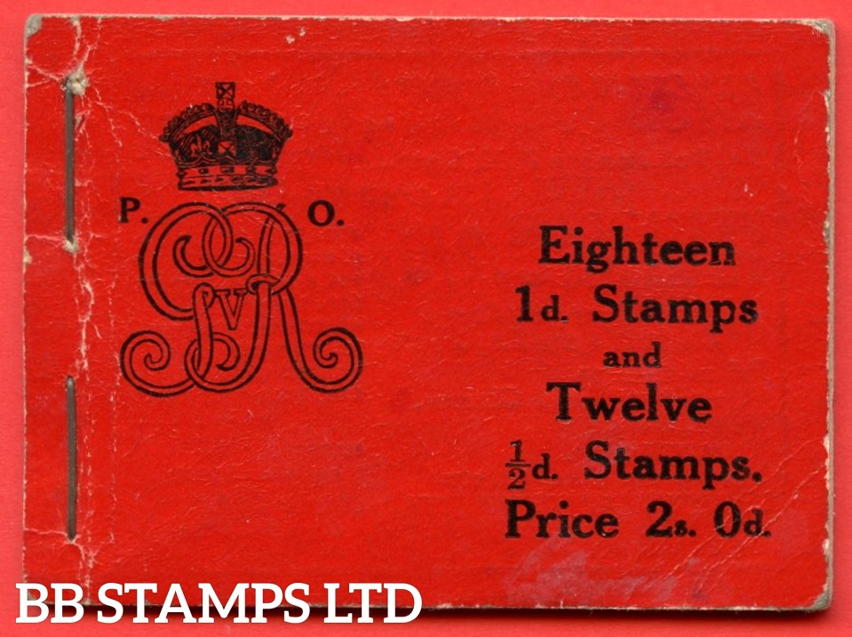 """SG. BB1. """" 2s """". Edition number 8. A very fine complete example of this very scarce George V Downey Head booklet."""