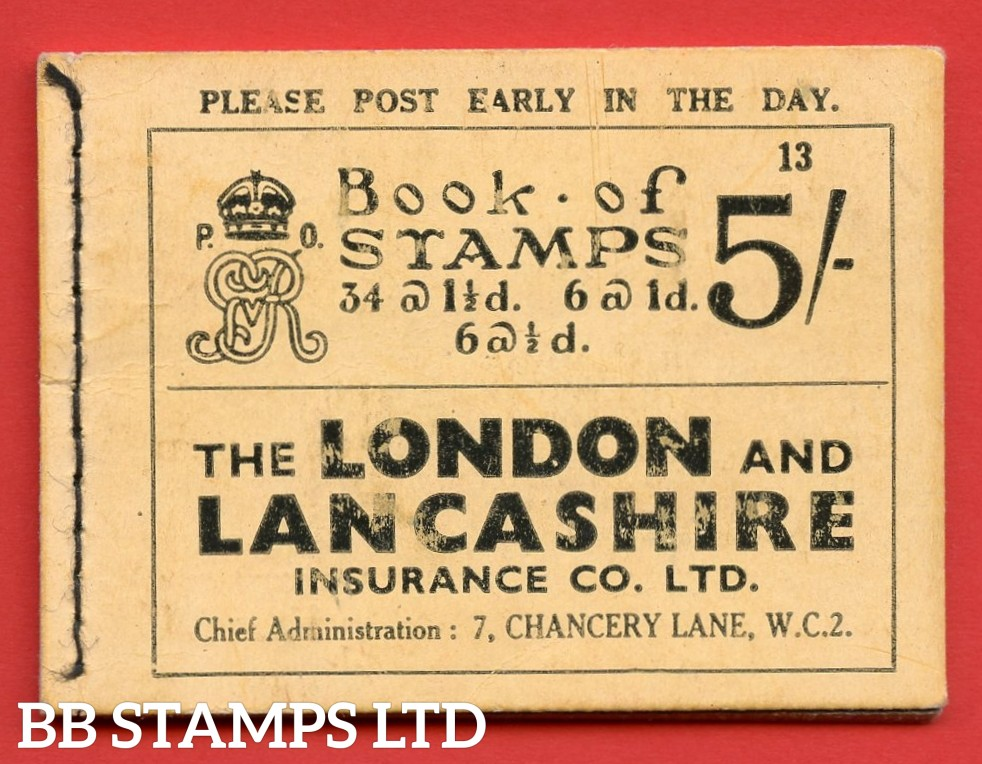 """SG. BB37. """" 5s """". Edition number 13. A very fine complete example of this very scarce George V photogravure booklet."""