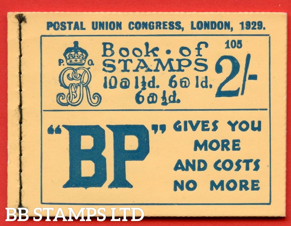 "SG. BB13. 2/-. Edition Number 105. George V. 1929 Postal Union Congress. A very fine complete booklet with advert pane  "" Telephone Service / Air Mails, Letters & Parcels "" number NComB4 (5)."