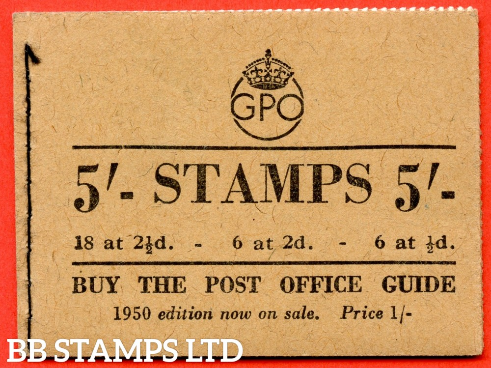 "SG. BD28 (47). "" 5/- "". August 1950. A very fine example of this George GVI booklet."