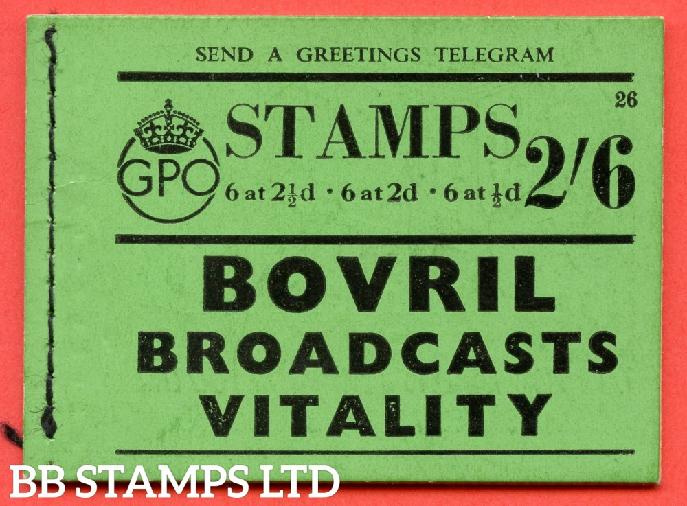 """SG. BD15. """" 2s 6d """". Edition number 26. A very fine complete example of this very scarce George VI booklet."""