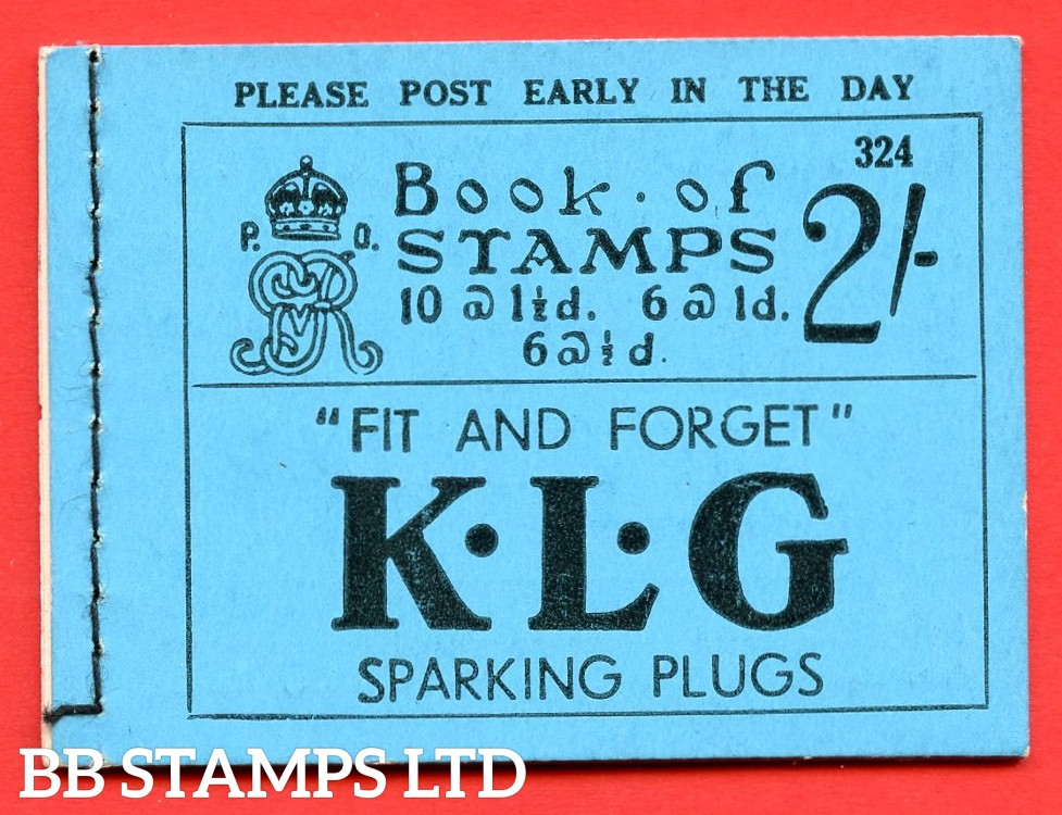 "SG. BB17. "" 2/- "". Edition number 324. A very fine complete example of this very scarce George V booklet."