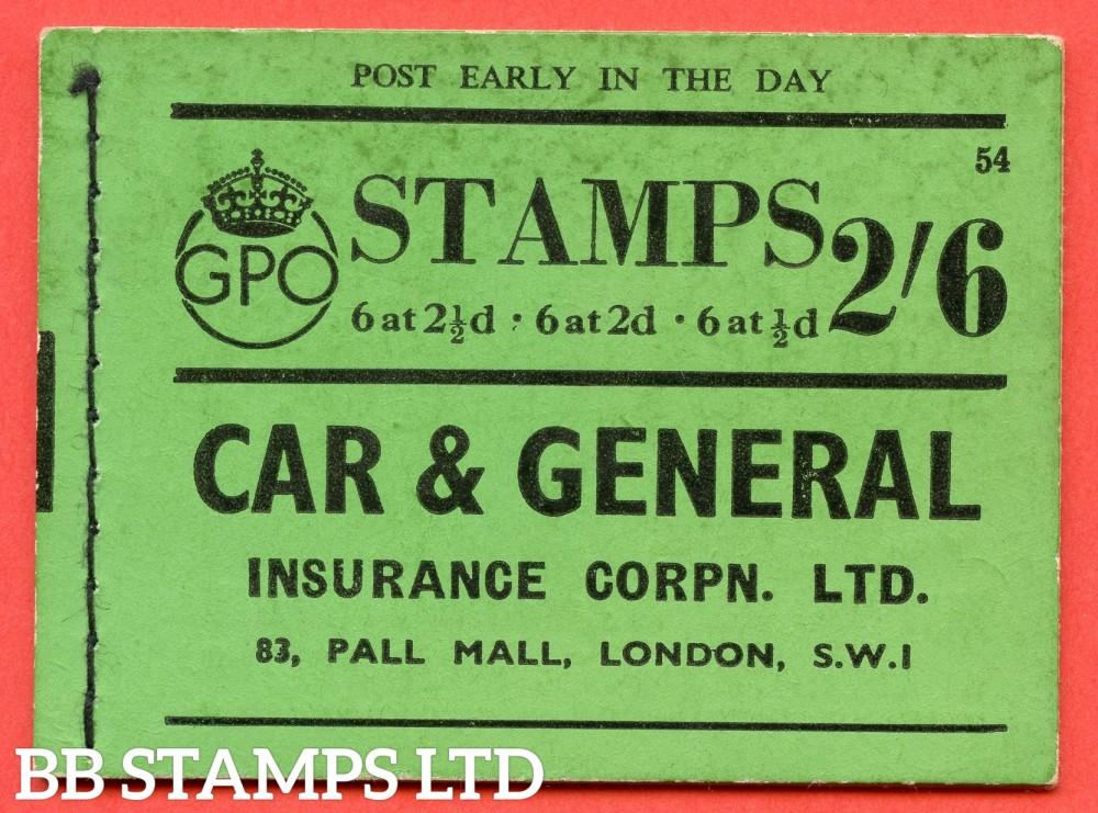 """SG. BD15. """" 2s 6d """". Edition number 54. A very fine complete example of this very scarce George VI booklet."""