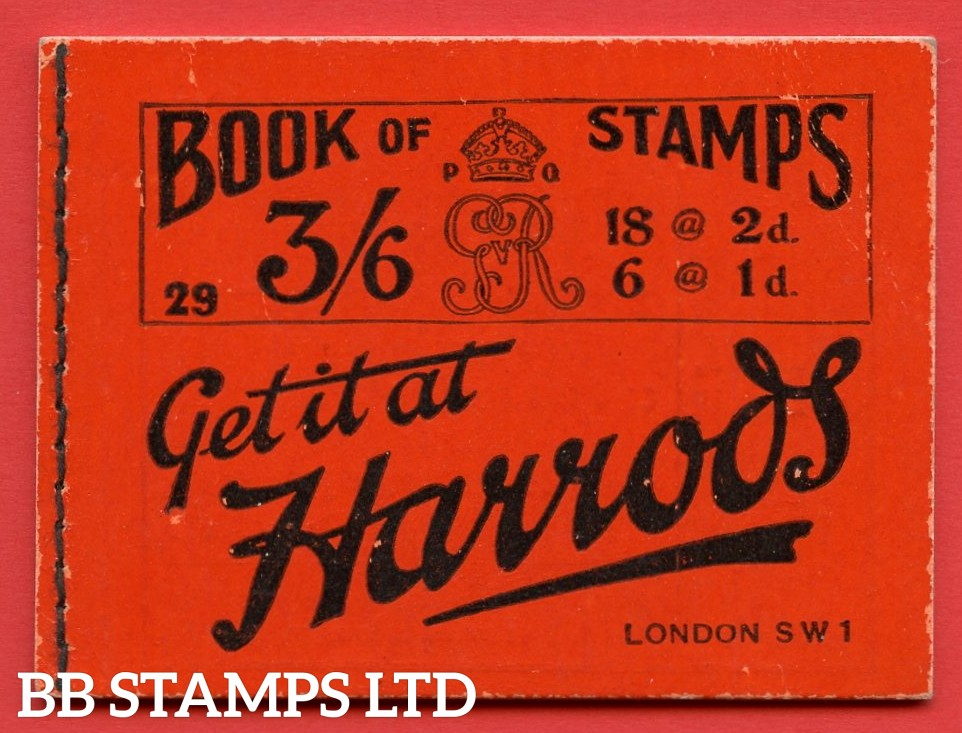 """SG. BB30. """" 3/6 """". Edition Number 29. A very fine example of this VERY RARE George V ROYAL CYPHER booklet."""