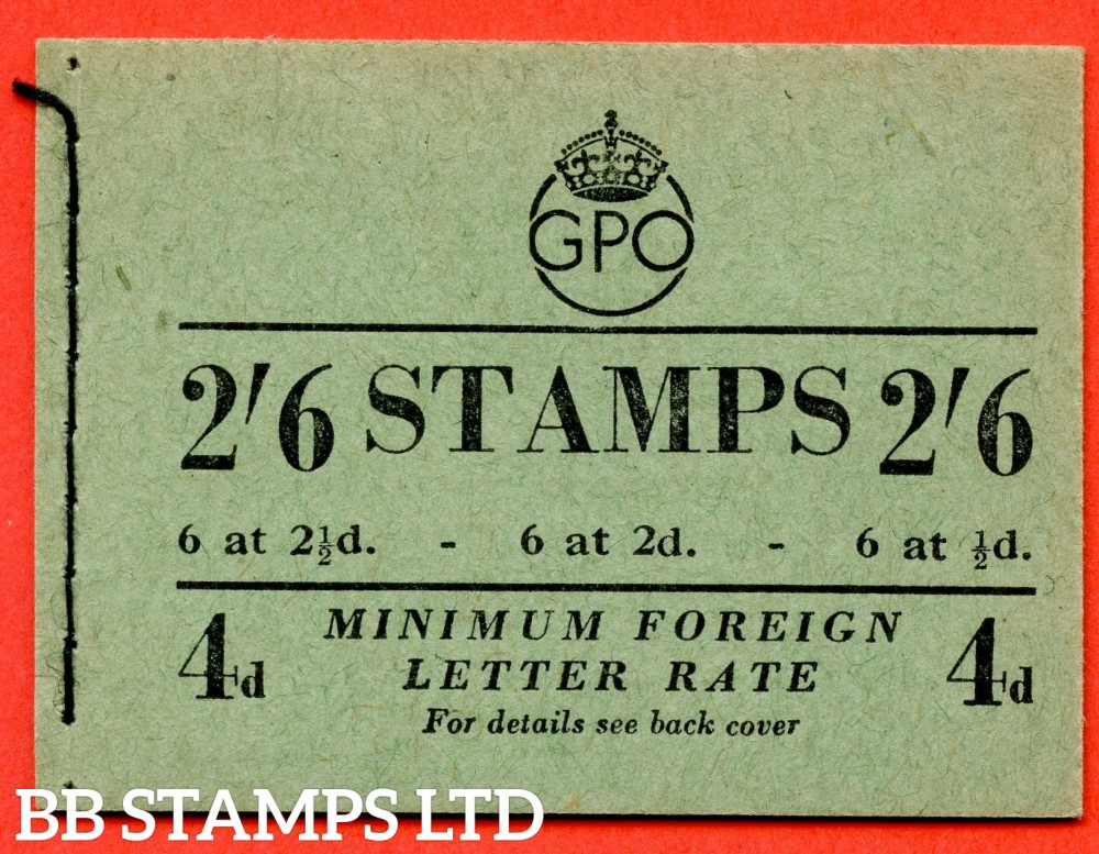 "SG. BD19 (10). "" 2/6 "". Edition number 10. February 1952.  A very fine complete example of this George VI booklet."