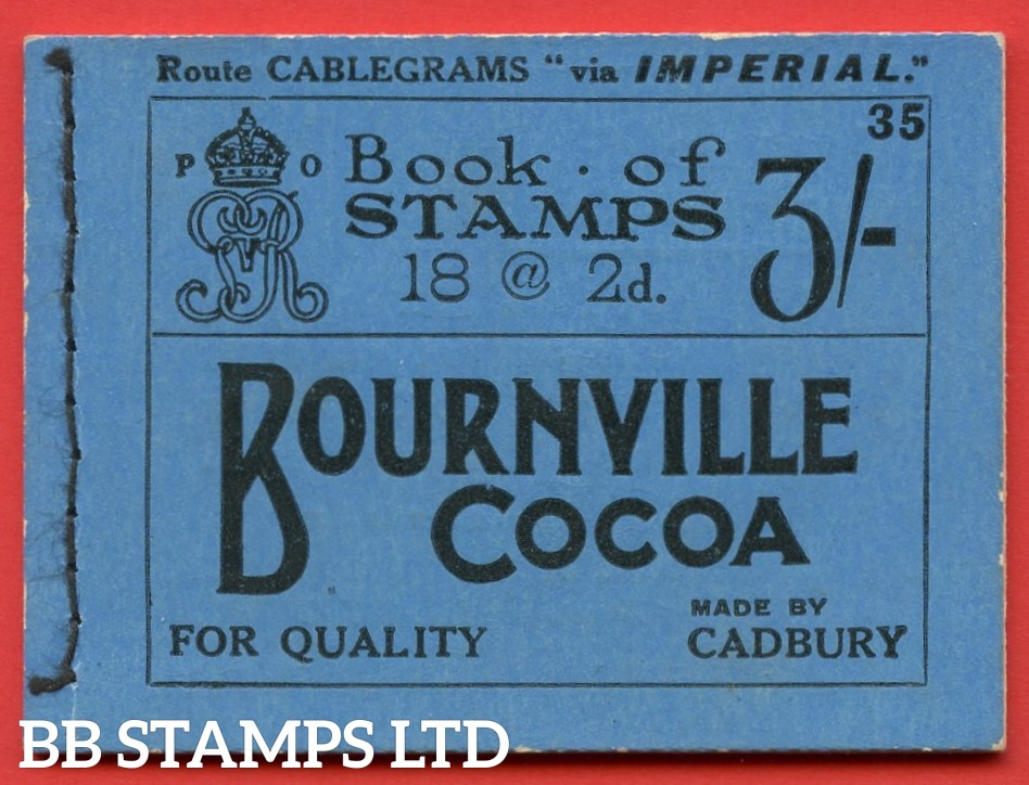 """SG. BB20. """" 3s """". Edition number 35. A very fine complete example of this very RARE George V Royal Cypher booklet."""