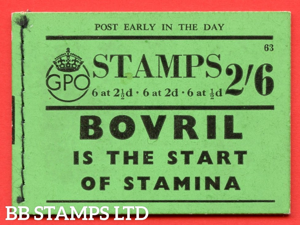 """SG. BD15. """" 2s 6d """". Edition number 63. A very fine complete example of this very scarce George VI booklet."""