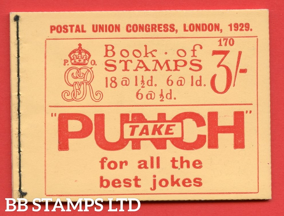 SG. BB25. 3/-. Edition Number 170. A very fine example of this scarce George V 1929 PUC booklet.