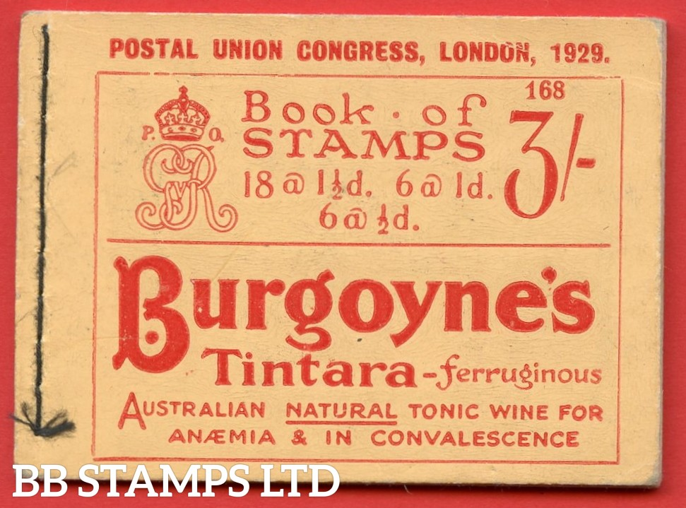 SG. BB25. 3/-. Edition Number 168. A very fine example of this scarce George V 1929 PUC booklet.