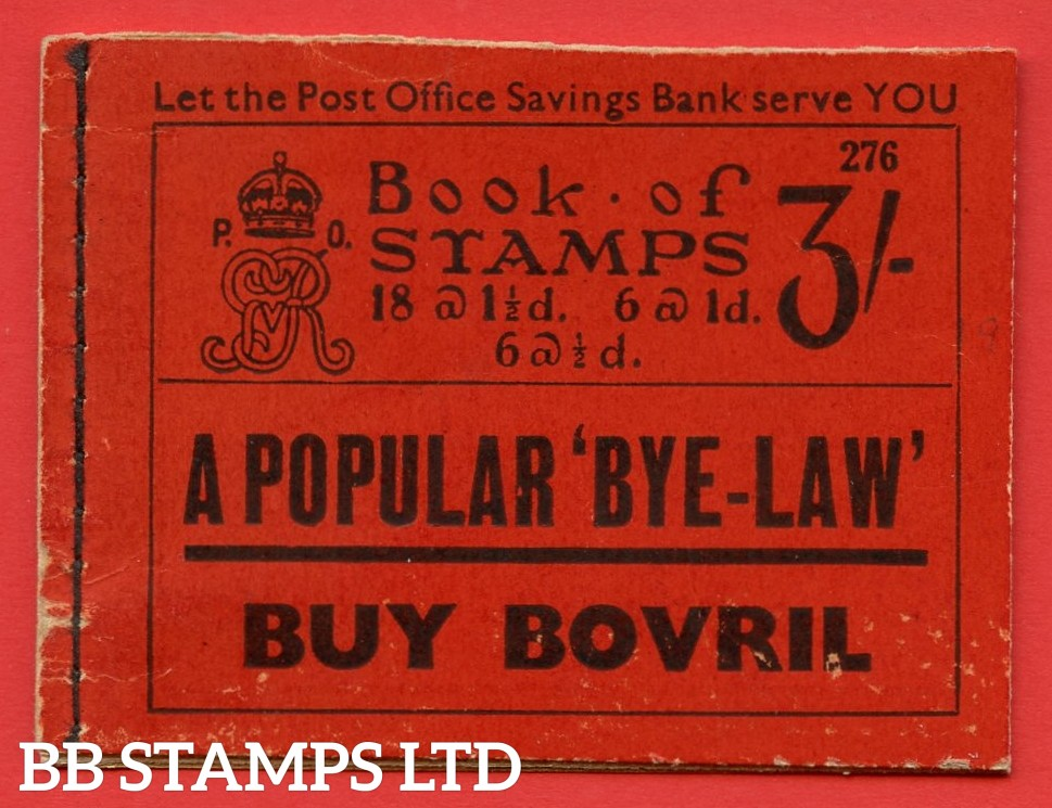 """SG. BB26. """" 3/- """". Edition number 276. A very fine complete example of this very scarce George V booklet."""