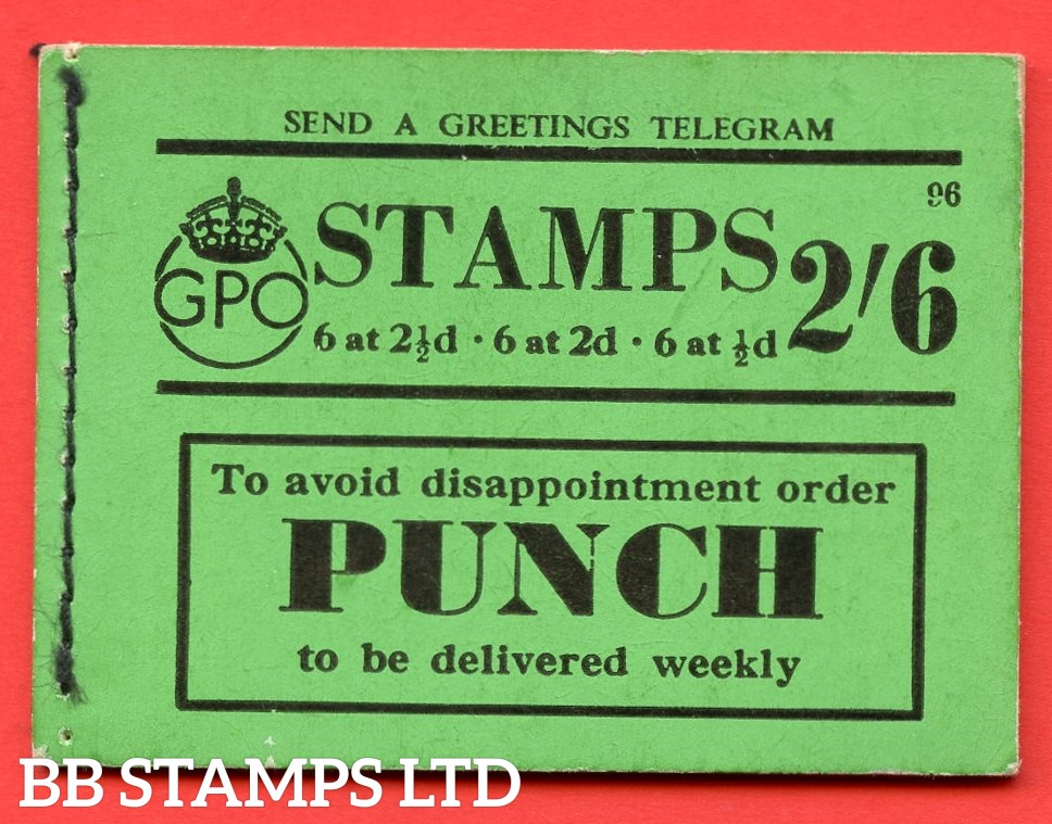 """SG. BD16. """" 2/6 """". Edition number 96. A very fine complete example of this very scarce George VI booklet."""