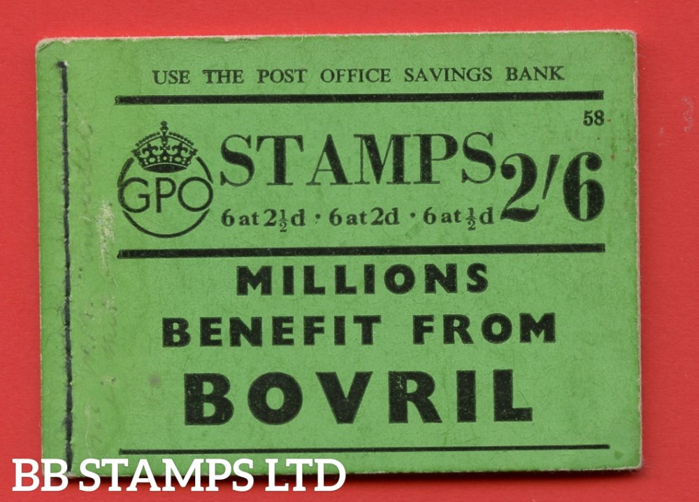 """SG. BD15. """" 2s 6d """". Edition number 58. A very fine complete example of this very scarce George VI booklet."""