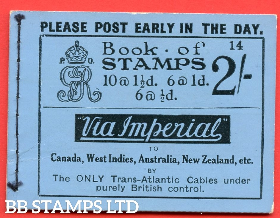 """SG. BB12. """" 2s """". Edition number 14. A very fine complete example of this very scarce George V booklet."""