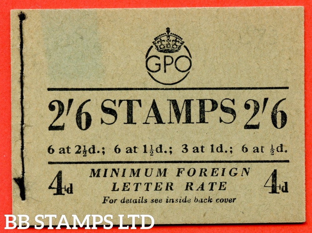 "SG. BD20. "" 2/6 "". Edition number 6. August 1952. A very fine complete example of this George VI booklet."