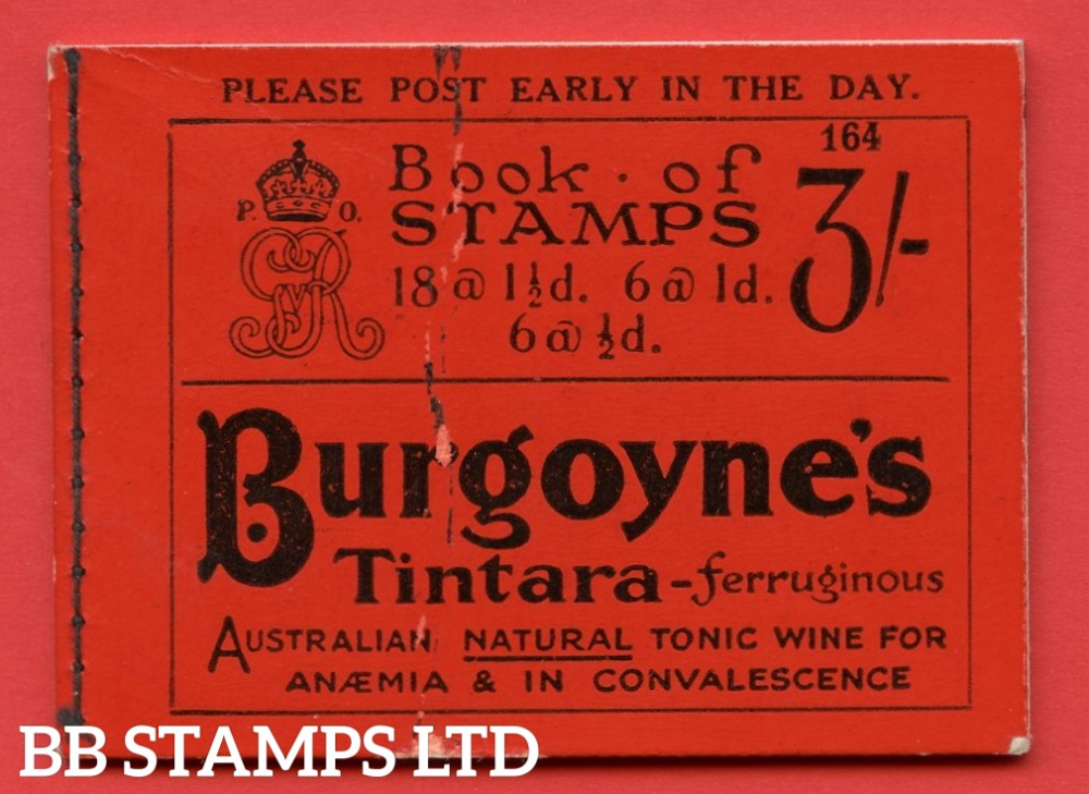 """SG. BB24. """" 3/- """". Edition number 164. A very fine complete example of this very scarce George V booklet."""