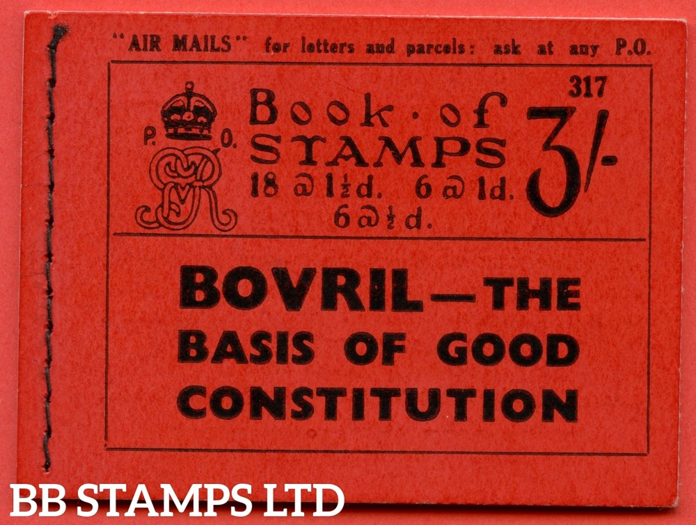 """SG. BB29. """" 3/- """". Edition Number 317. A very fine example of this scarce George V Photogravure booklet."""