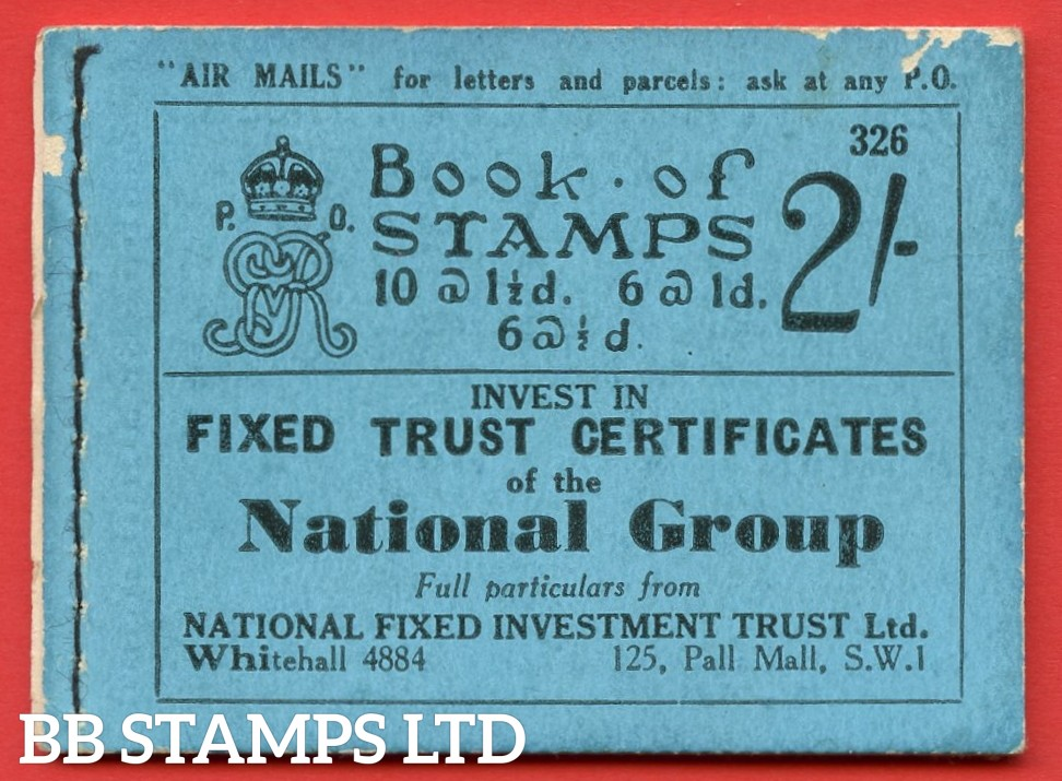 """SG. BB17. """" 2/- """". Edition number 326. A very fine complete example of this very scarce George V booklet. Marks on front cover."""