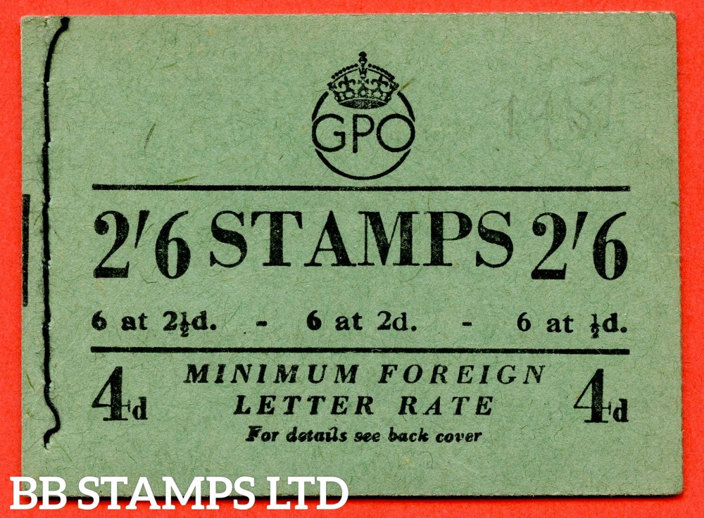 """SG. BD19 (5). """" 2/6 """". Edition number 5. September . A very fine complete example of this George VI booklet with the RARE variety """" parcels rate obliterated """" inside front cover."""